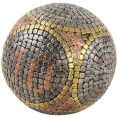 Early 20th Century French Petanque Lawn Ball with Steel, Copper, and Brass Nails