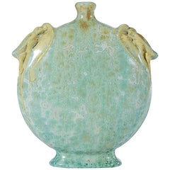 Early 20th Century French Pierrefonds Cicada Vase with Crystalline Glaze
