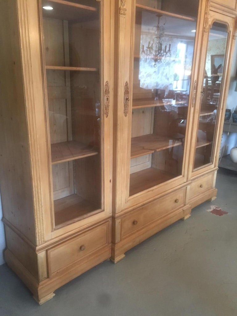 Early 20th Century French Pine Wood Bibliotheque, 1900s For Sale 5