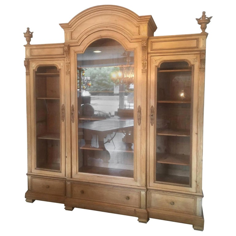 Early 20th Century French Pine Wood Bibliotheque, 1900s For Sale