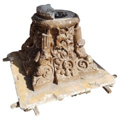 Early 20th Century French Plaster Capital with Representation of the 4 Seasons