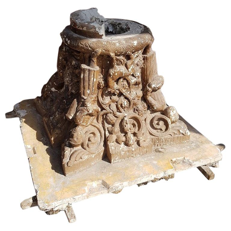Early 20th Century French Plaster Capital with Representation of the 4 Seasons For Sale