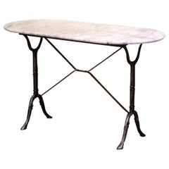 Early 20th Century French Polished Iron and Marble-Top Bistrot Table