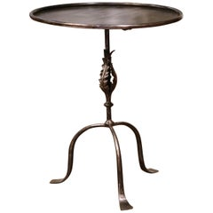 Early 20th Century French Polished Iron Pedestal Martini Side Table