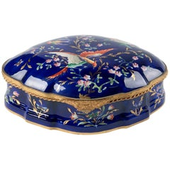 Early 20th Century French Porcelain Lidded Chocolate Box for Marquise De Sevigne