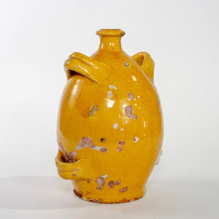 Glazed Early 20th Century French Pottery Jug with Mustard Glaze For Sale