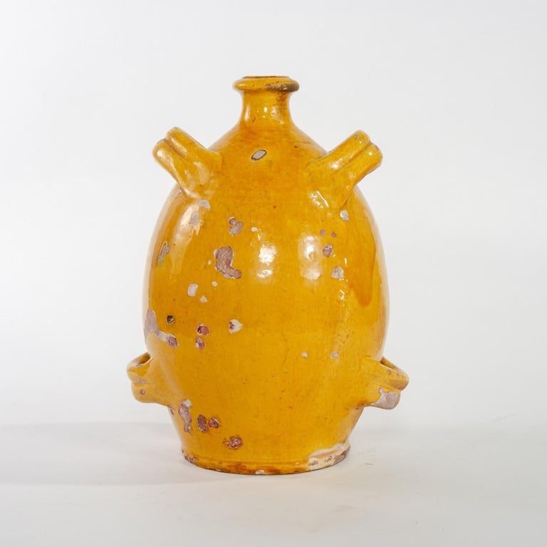 Early 20th Century French Pottery Jug with Mustard Glaze For Sale 1