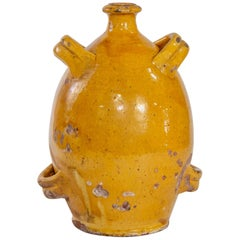 Early 20th Century French Pottery Jug with Mustard Glaze