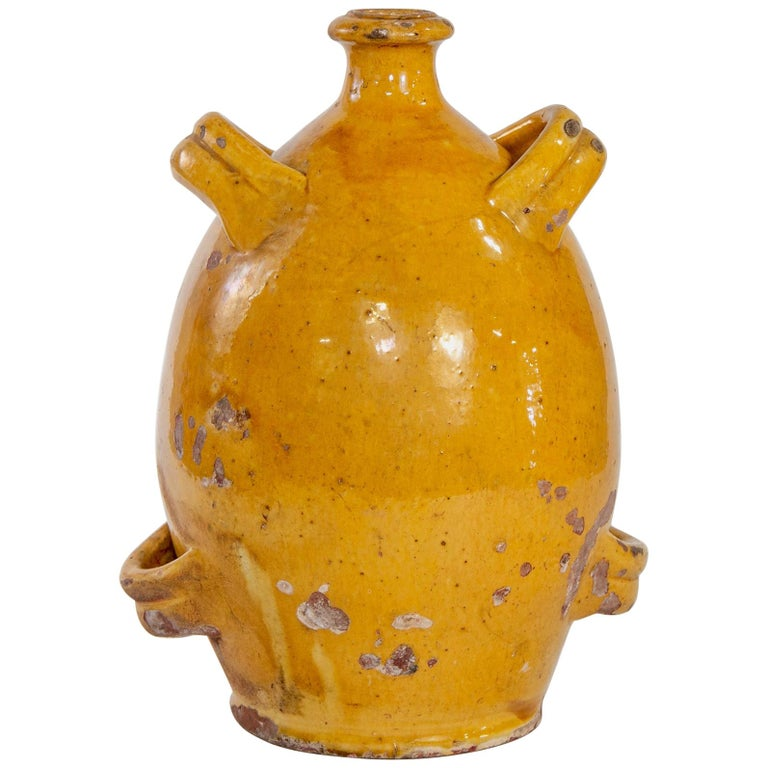 Early 20th Century French Pottery Jug with Mustard Glaze For Sale