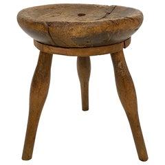 Early 20th Century French Primitive Wabi Sabi 3-Leg Cobbler Stool in Ash & Beech