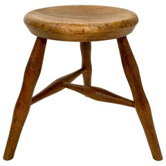 Early 20th Century French Country Wabi Sabi 3-Leg Milking Stool in Ash & Beech