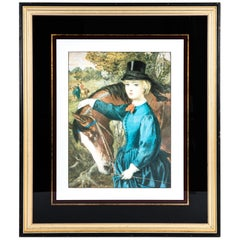 Early 20th Century French Print Lithograph With Painted Wood Frame