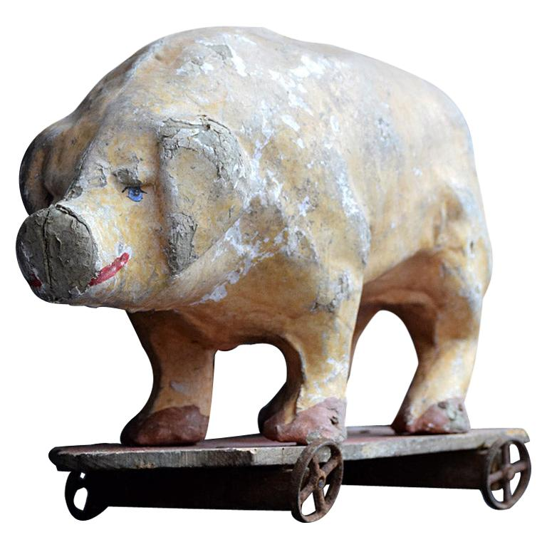 Early 20th Century French Pull Along Papier Mâché Toy Pig
