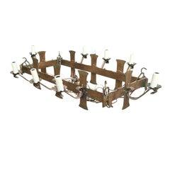 Early 20th Century French Rectangular Hand-Forged Chandelier