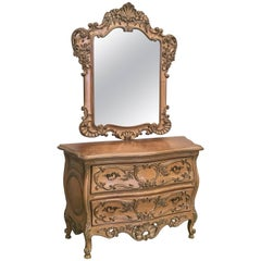Early 20th Century French Regence Carved Mirror with Chest of Three Drawers