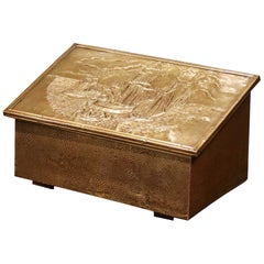 Early 20th Century French Repousse Brass and Wooden Box with Sailboats Decor