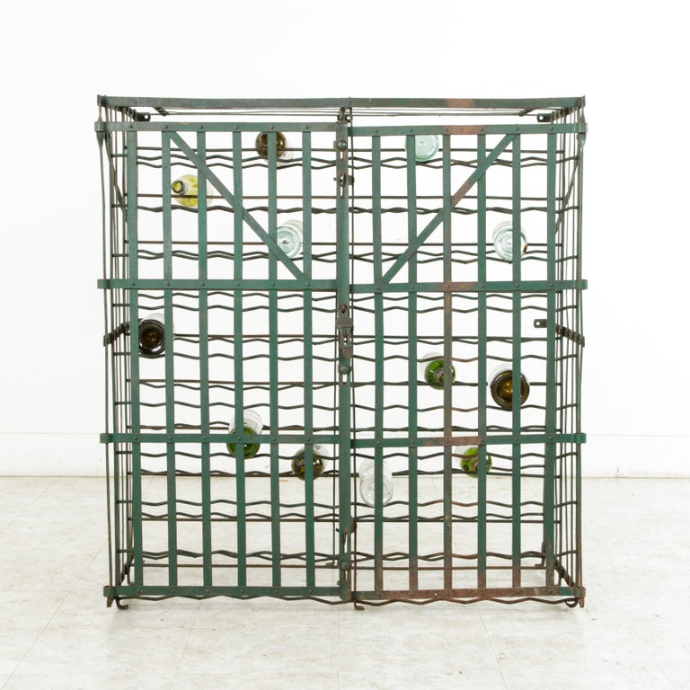 Early 20th Century French Riveted Iron Wine Cage or Wine Cellar for 200 Bottles In Good Condition For Sale In Fayetteville, AR