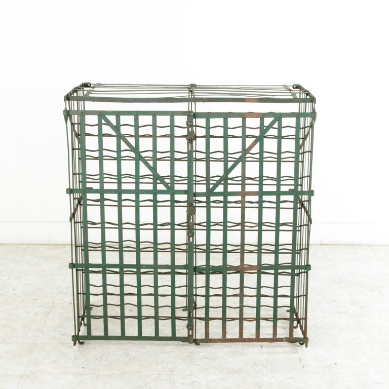 Early 20th Century French Riveted Iron Wine Cage or Wine Cellar for 200 Bottles For Sale 1