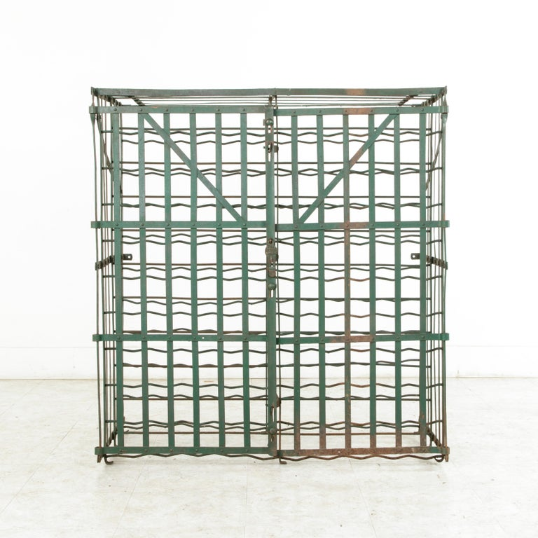 Early 20th Century French Riveted Iron Wine Cage or Wine Cellar for 200 Bottles For Sale 2