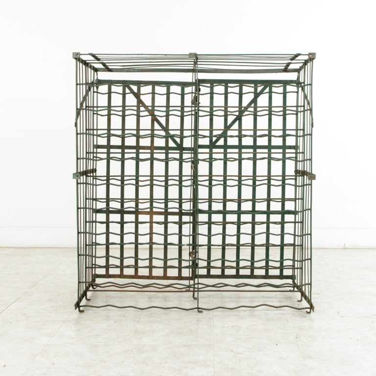 Early 20th Century French Riveted Iron Wine Cage or Wine Cellar for 200 Bottles For Sale 4