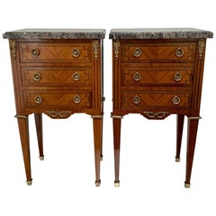 Early 20th Century French Rosewood and Inlaid Lamp Tables with Brass Mounts