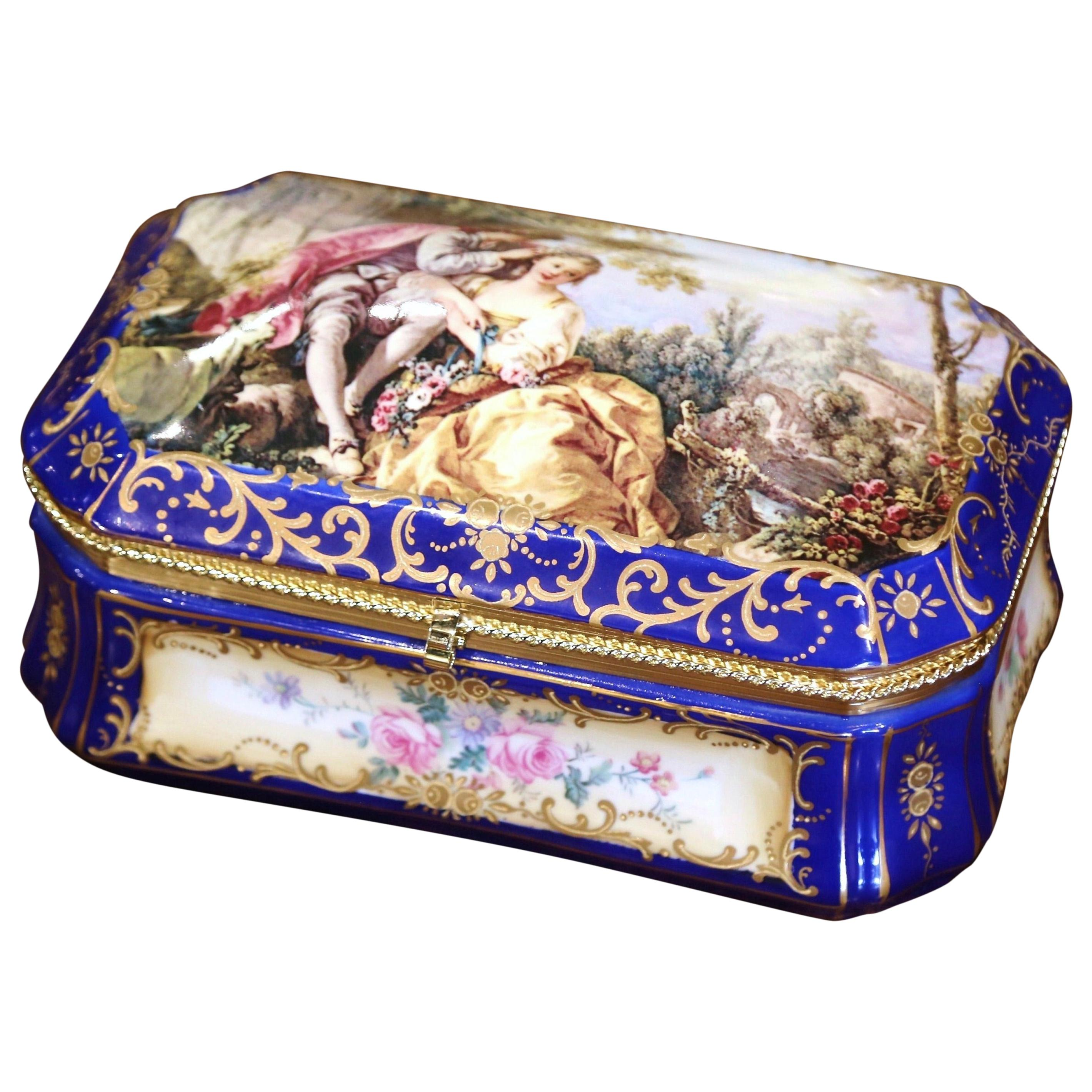 Early 20th Century French Sèvres Painted Porcelain and Gilt Brass Jewelry Box