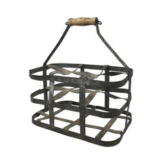 Early 20th Century French Six Bottle Wine Carrier Basket from France