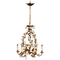 Early 20th Century French Six-Light Chandelier with Porcelain Flowers and Leaves