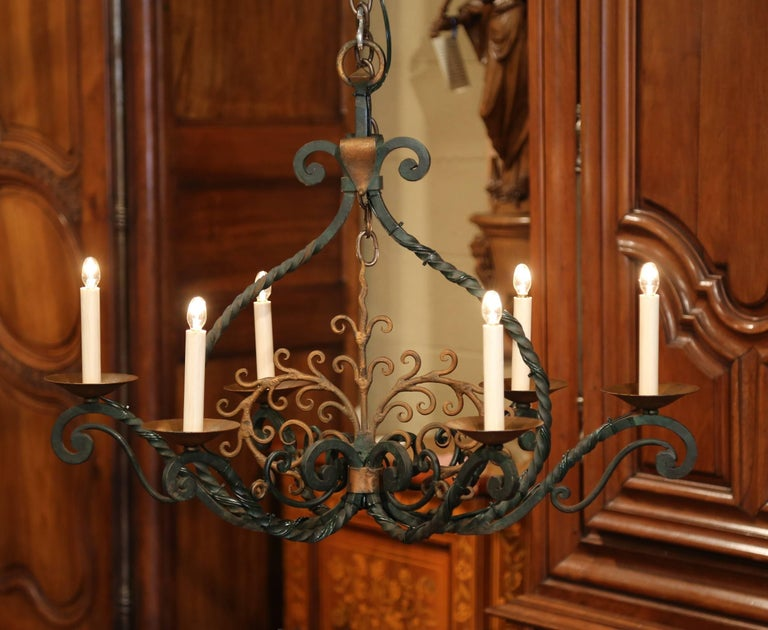 Louis XV Early 20th Century French Verdigris and Gilt Accent Six-Light Iron Chandelier For Sale