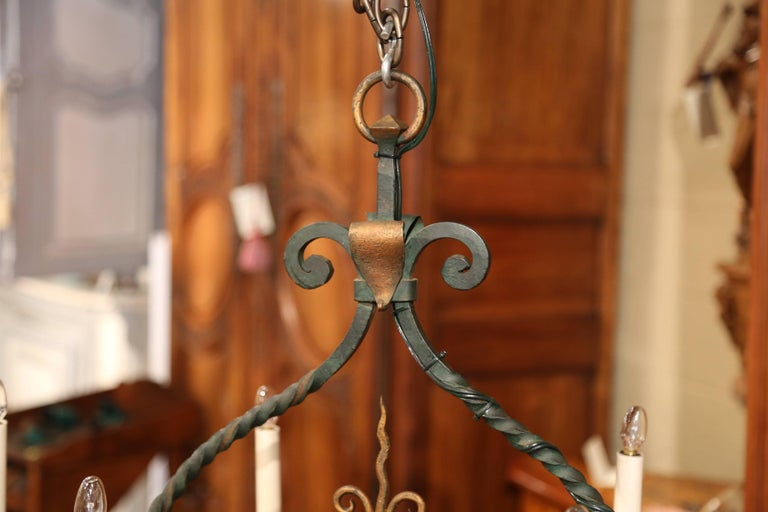 Early 20th Century French Verdigris and Gilt Accent Six-Light Iron Chandelier For Sale 2