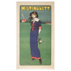 "Early 20th Century French Stone Lithograph ""Mistinguett"", circa 1911"