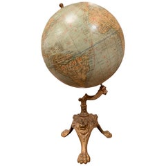 Early 20th Century French Terrestrial Globe on Iron Stand Signed A. Jeande
