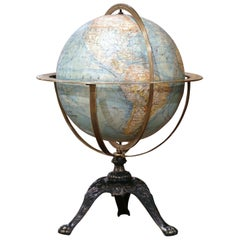 Early 20th Century French Terrestrial Globe with Brass Frame Signed Forest Paris