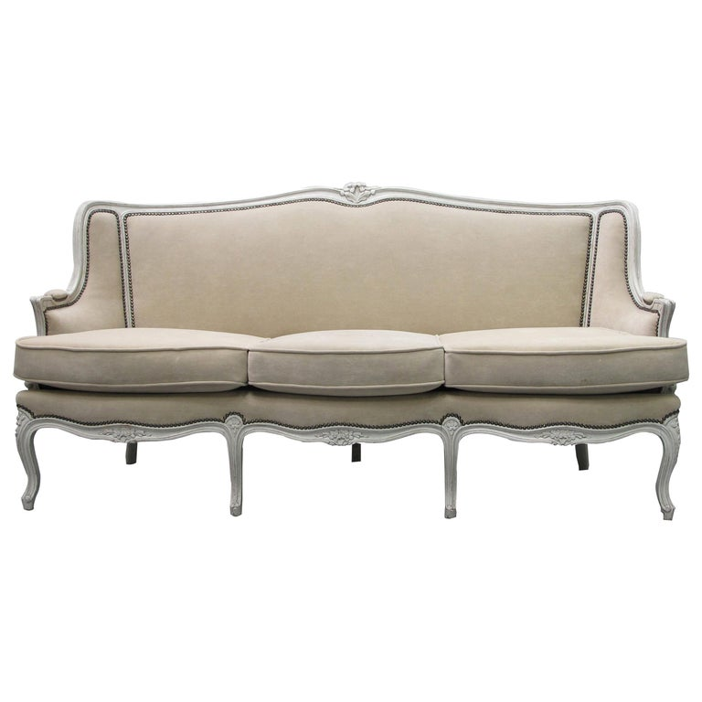 Early 20th Century French Three-Seat Sofa, Louis XV Style with Painted Frame For Sale