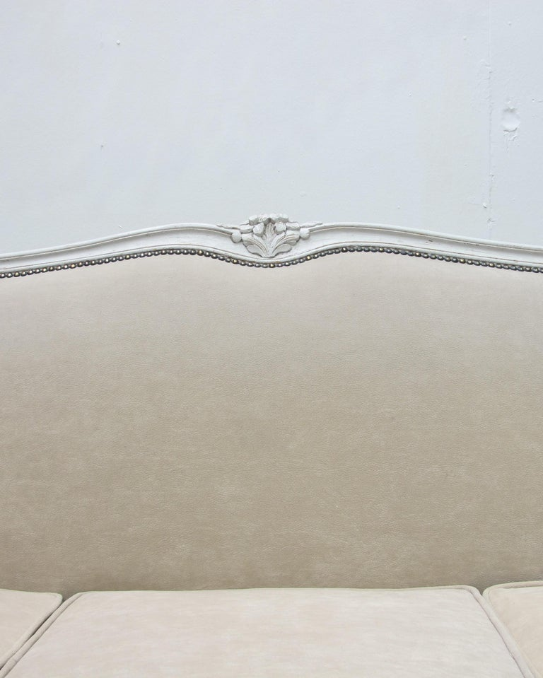Early 20th Century French Three-Seat Sofa, Louis XV Style with Painted Frame For Sale 5