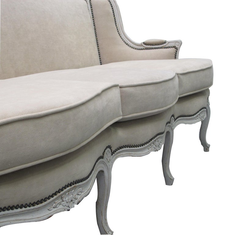 Belle Époque Early 20th Century French Three-Seat Sofa, Louis XV Style with Painted Frame For Sale