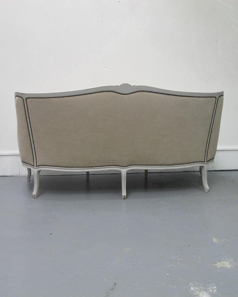 Early 20th Century French Three-Seat Sofa, Louis XV Style with Painted Frame In Good Condition For Sale In London, GB