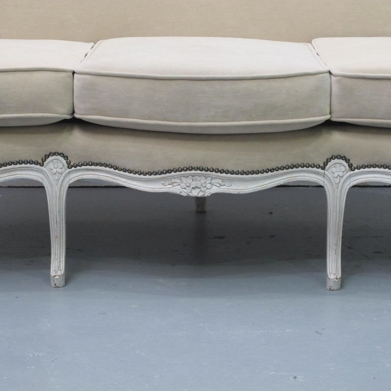 Fabric Early 20th Century French Three-Seat Sofa, Louis XV Style with Painted Frame For Sale
