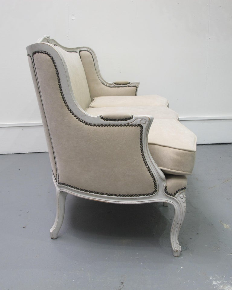 Early 20th Century French Three-Seat Sofa, Louis XV Style with Painted Frame For Sale 1
