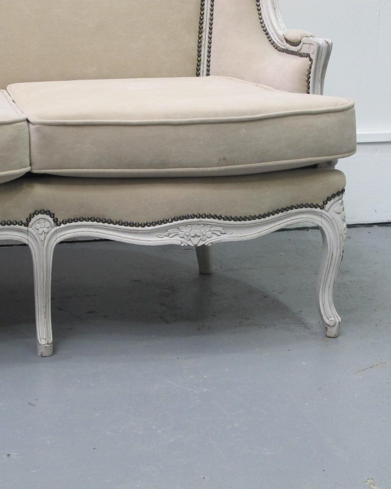 Early 20th Century French Three-Seat Sofa, Louis XV Style with Painted Frame For Sale 2