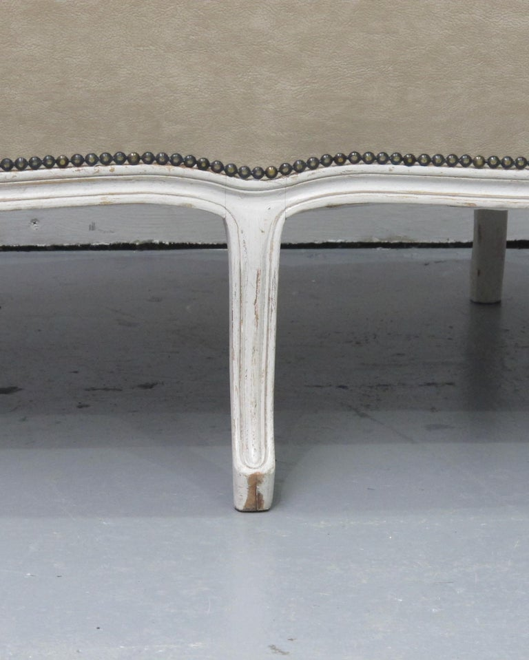 Early 20th Century French Three-Seat Sofa, Louis XV Style with Painted Frame For Sale 3
