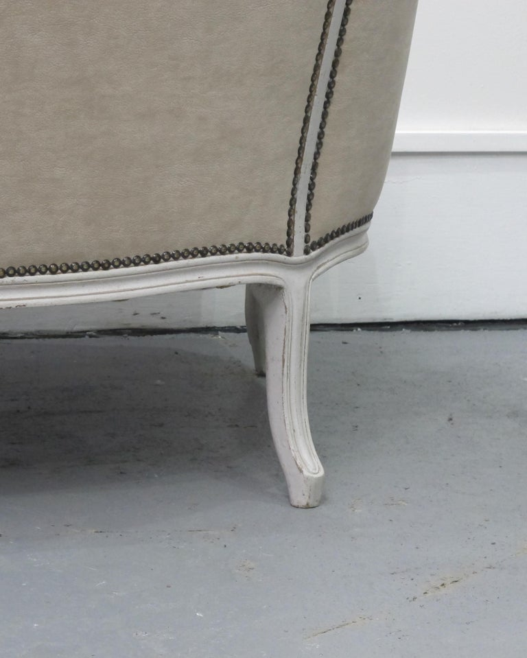 Early 20th Century French Three-Seat Sofa, Louis XV Style with Painted Frame For Sale 4