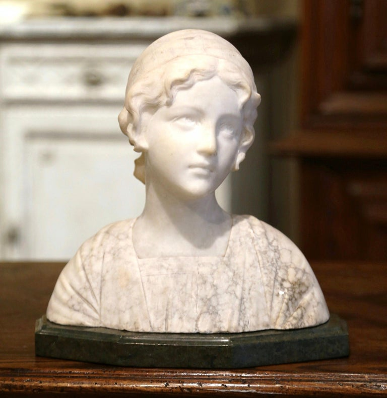 Patinated Early 20th Century French Two-Piece Marble Bust Sculpture of Young Beauty For Sale