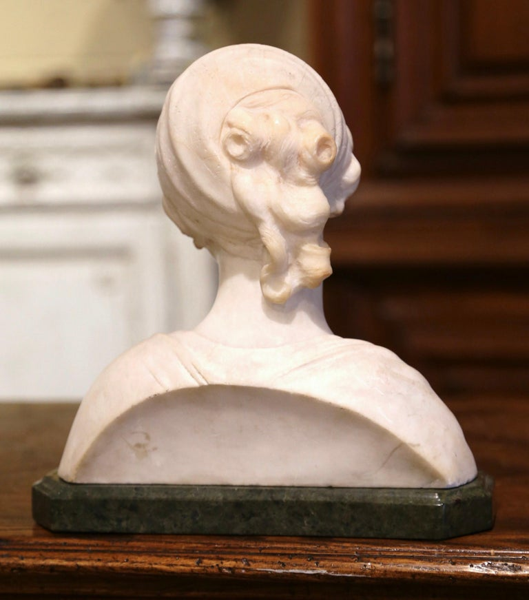 Early 20th Century French Two-Piece Marble Bust Sculpture of Young Beauty For Sale 2