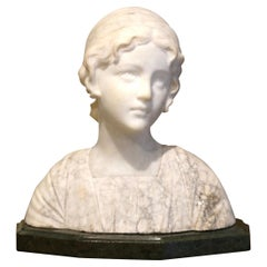 Early 20th Century French Two-Piece Marble Bust Sculpture of Young Beauty