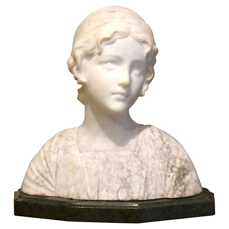 Early 20th Century French Two-Piece Marble Bust Sculpture of Young Beauty For Sale