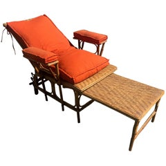 Early 20th Century French Wicker Chaise Longue, 1900s