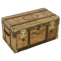 Early 20th Century French Wooden Steam Trunk with Brass, Leather, circa 1900