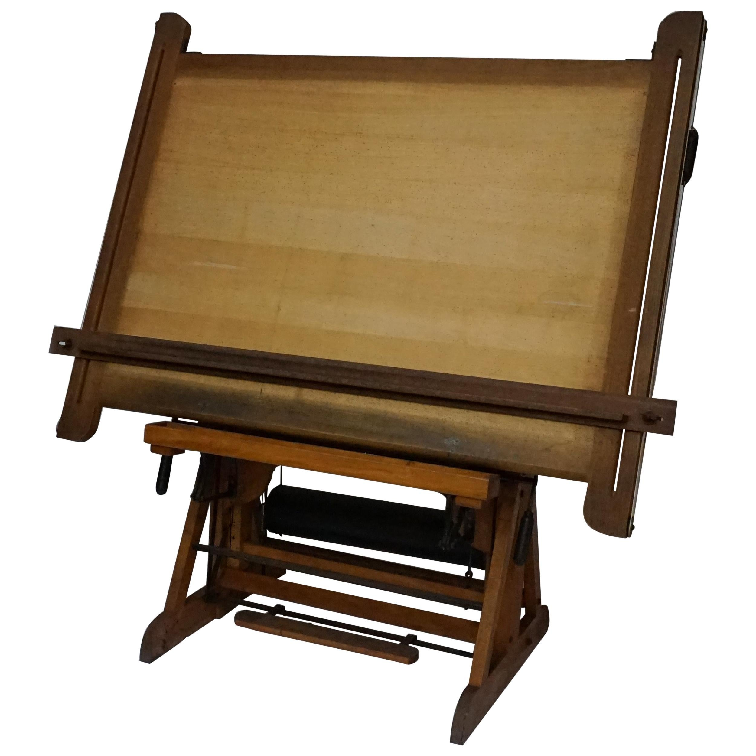 Early 20th Century French Wooden Tilting Architect's Drafting or Drawing Table