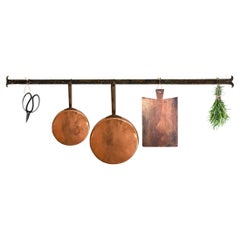 Early 20th Century French Wrought-Iron Wall-Mounted Pot Rack